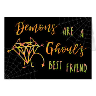 Cartão Os demónios engraçados do Dia das Bruxas são um