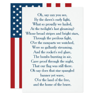Cartão Os EUA embandeiram o coro do hino nacional