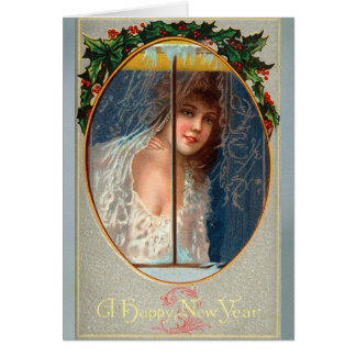Cartão Os felizes anos novos do vintage que cumprimentam