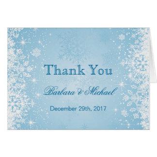 Cartão Os flocos de neve brancos no casamento azul