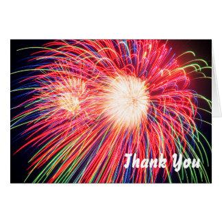 Cartão Os fogos-de-artifício agradecem-lhe