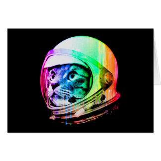Cartão os gatos coloridos - astronauta do gato - espaçam