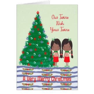 Cartão Os gêmeos desejando aos gêmeos o Feliz Natal