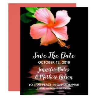 Cartão Os hibiscus tropicais salvar os anúncios da data
