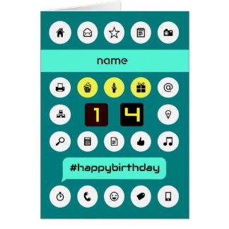 Cartão os ícones de computação do 14o aniversário