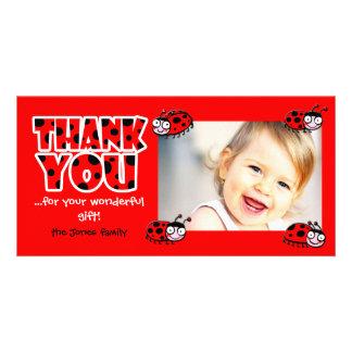 Cartão os joaninhas agradecem-lhe para seu presente