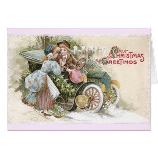 Cartão Os jovens acoplam-se e o Natal do Cabriolet do