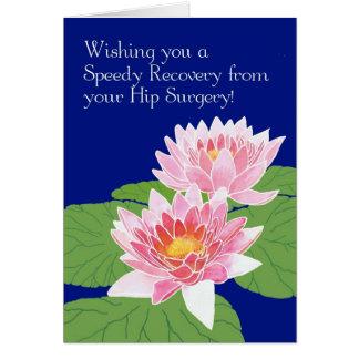 Cartão Os lírios de água cor-de-rosa no azul obtêm a