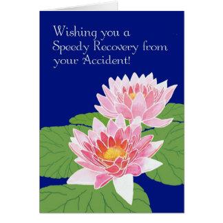 Cartão Os lírios de água cor-de-rosa no azul obtêm bem do