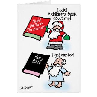 Cartão Os livros de crianças do papai noel & do deus