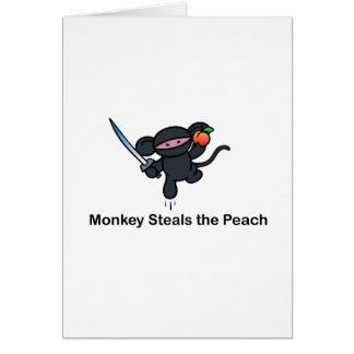 Cartão Os macacos de Ninja do vôo roubam o pêssego