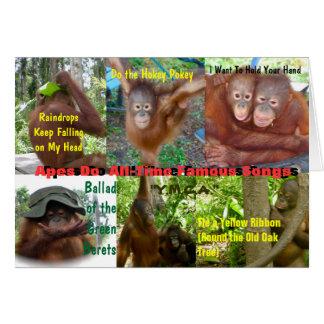 Cartão Os macacos fazem canções famosas absolutas