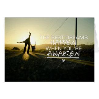 Cartão Os melhores sonhos acontecem citações inspiradores