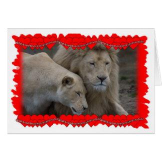 Cartão Os namorados de um leão