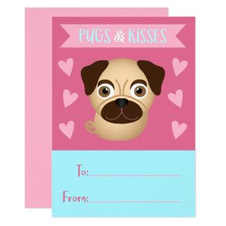 Cartão Os namorados do miúdo dos Pugs e dos beijos