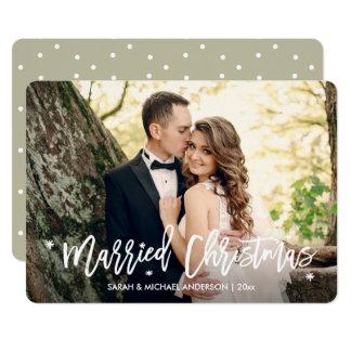 Cartão Os Newlyweds casaram a foto do roteiro da folha de