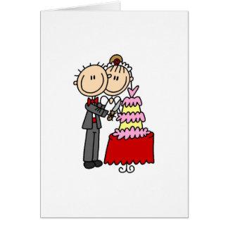 Cartão Os noivos cortaram os t-shirt e os presentes do