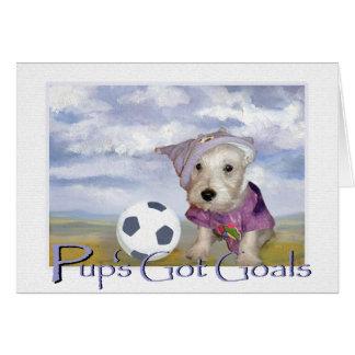 Cartão Os objetivos obtidos do filhote de cachorro