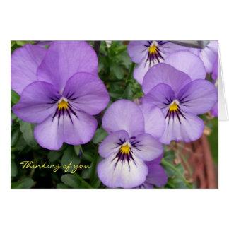 Cartão Os Pansies/violetas azuis que pensam de você