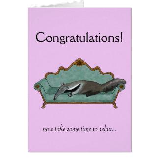 Cartão Os parabéns cardam com Anteater bonito