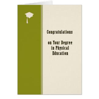 Cartão Os parabéns cardam, diploma na educação física