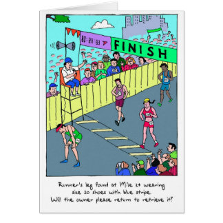 Cartão Os parabéns cardam para o Marathoner - o pé do