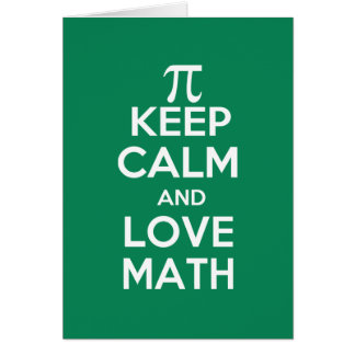 Cartão os pi mantêm a calma e a matemática do amor