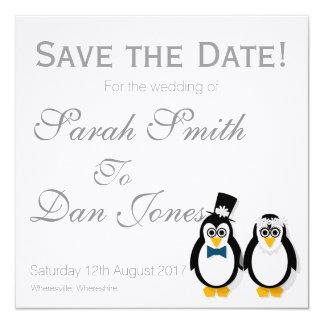 Cartão Os pinguins salvar o casamento da data