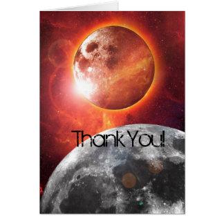 Cartão Os planetas cósmicos exploram o obrigado você
