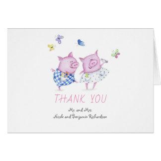 Cartão Os porcos acoplam o obrigado bonito do casamento