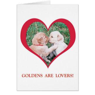Cartão Os Retrievers dourados são amantes!  Dia dos