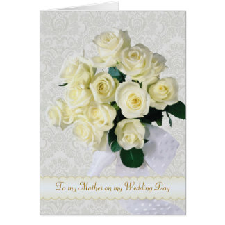Cartão Os rosas brancos - obrigado serir de mãe para meu