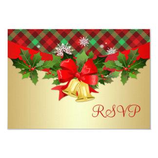 Cartão Os sinos de Natal, o azevinho e o tartan modelam