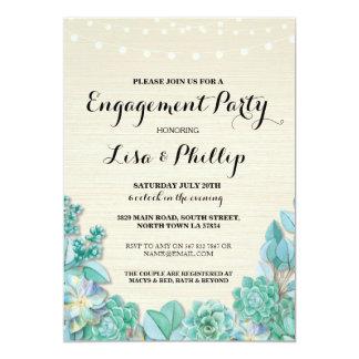 Cartão Os Succulents rústicos do chá da festa de noivado