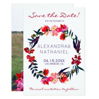 Cartão Os wildflowers vermelhos da aguarela do marinho