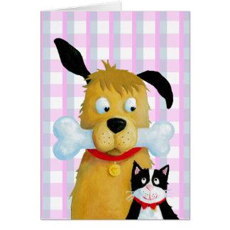 Cartão Osso & gato de cão no teste padrão do Tartan -