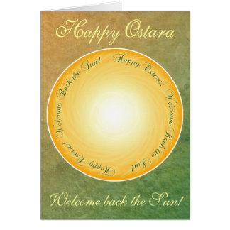 Cartão Ostara feliz! Boa vinda para trás o Sun!