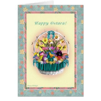 Cartão Ostara feliz - equinócio Vernal - cesta de Ostara