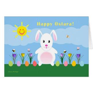 Cartão Ostara feliz - equinócio Vernal - coelho no jardim