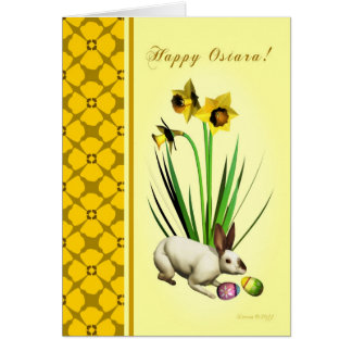 Cartão Ostara feliz - equinócio Vernal - Daffodils do