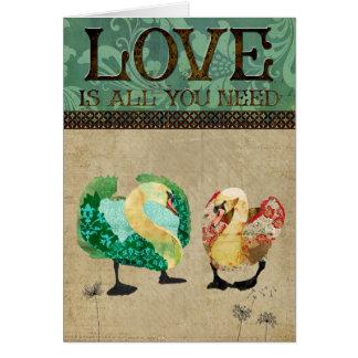 Cartão ostentoso   do amor das cisnes