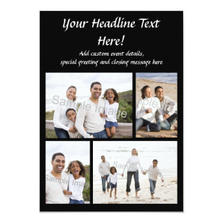 cartão ou convite liso da colagem 4-Photo