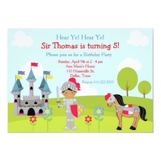 Cartão Ouça a festa de aniversário do cavaleiro do
