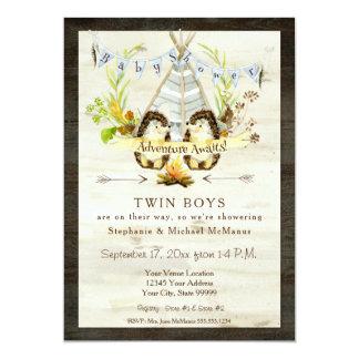 Cartão Ouriço animal do Teepee da floresta gêmea do chá