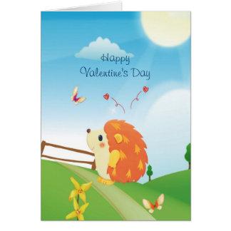 Cartão Ouriço bonito do amor com dia ensolarado da