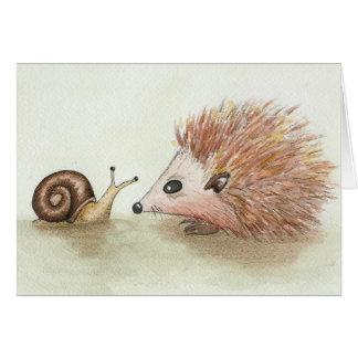 Cartão Ouriço e caracol