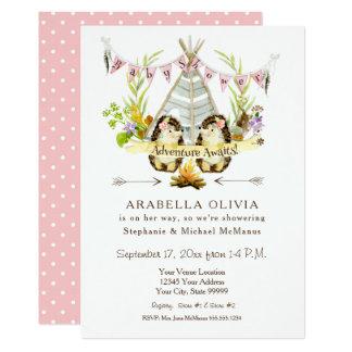 Cartão Ouriços do Teepee da floresta BOHO do chá de