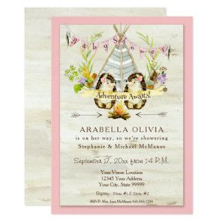 Cartão Ouriços do Teepee da floresta da floresta do chá