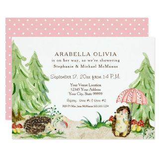 Cartão Ouriços dos animais da floresta da floresta do chá