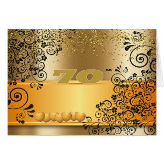 Cartão Ouro 70 do aniversário